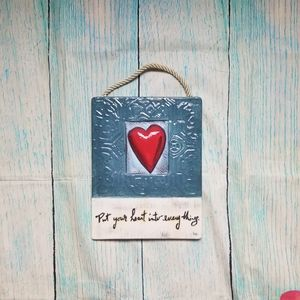 Ceramic heart wall hanging plaque